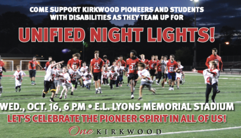 Unified Night Lights is a night for children with and without disabilities to come together to play football, cheerleading, and band.