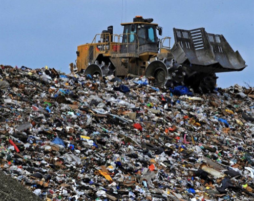 You may wonder why there is a ton of plastic in the ocean. It's because the landfills are so high. (Picture from National Geographic)