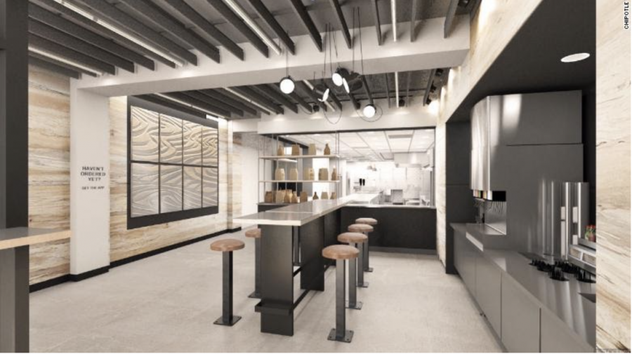 A newly designed Chipotle restaurant like this one in New York creates a more germ-free environment for customers. (Image source: CNN)